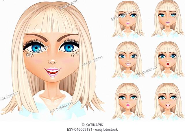 Set woman with different facial expressions. Blond woman emoji character with different expressions. Vector illustration in cartoon style