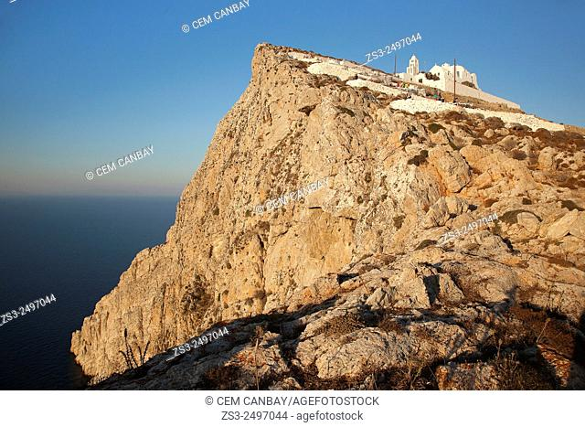Panagia Kimissis church situated at the cliff in Hora, Folegandros, Cyclades Islands, Greek Islands, Greece, Europe