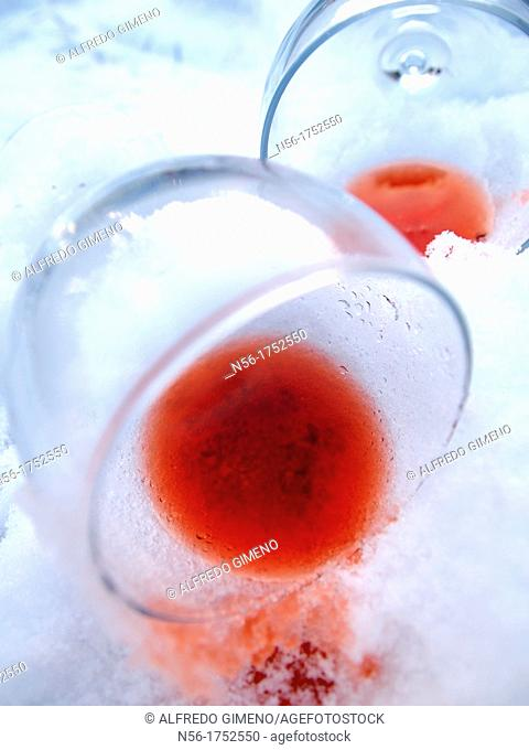 wine glasses with snow