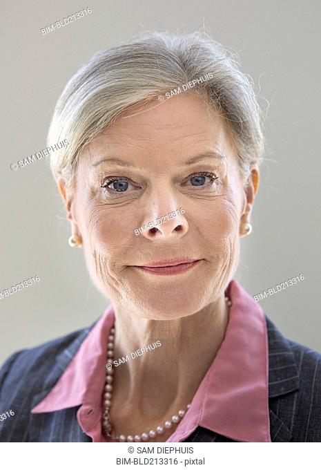 Caucasian businesswoman smiling