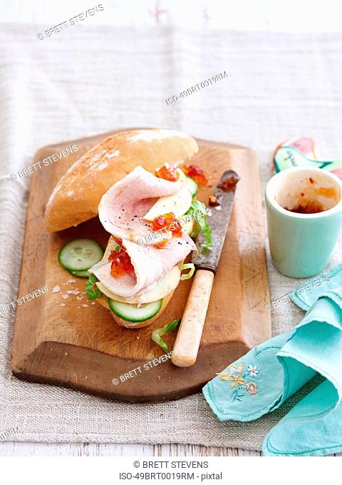 Sandwich with relish ham and cucumber