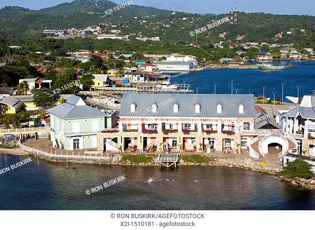 Town Center cruise port and shops at Coxen Hole on the island of Roatan, in Honduras