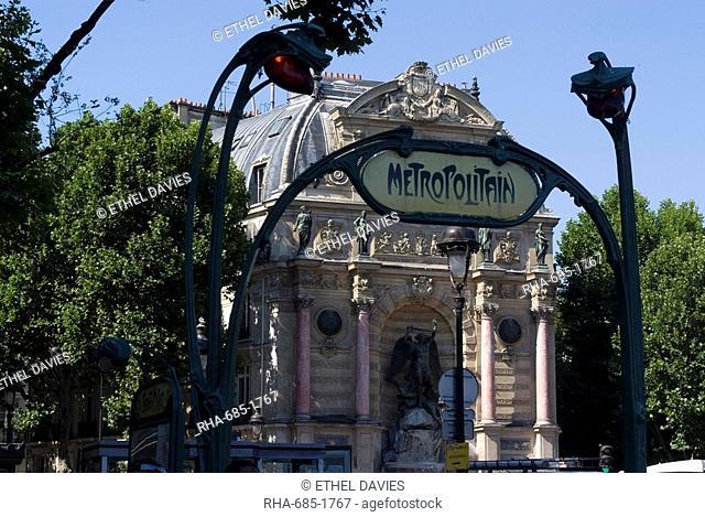 Metro entrance, Boulevard St. Michel, Paris, France, Europe