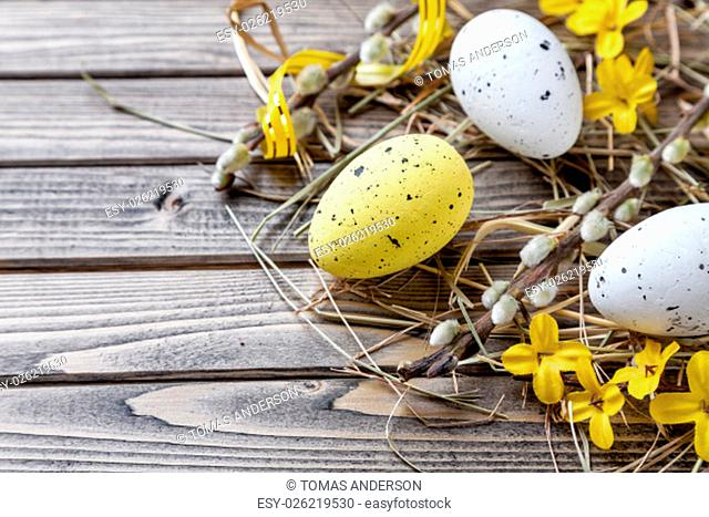 Traditional Easter eggs on a wooden background