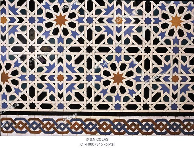 Spain, Andalusia, Seville, azulejos of the Alcazar