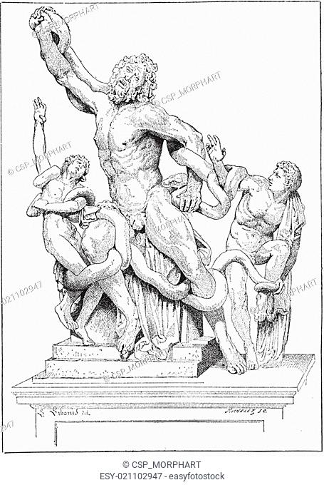 Laocoon and his sons, vintage engraving