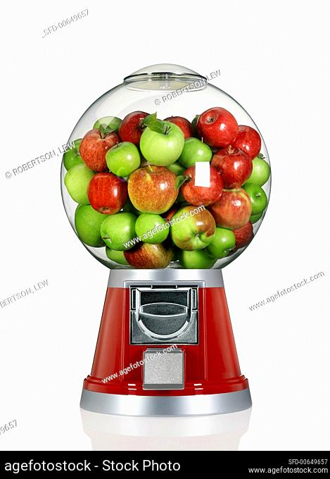 Red and Green Apples in a Candy Dispenser