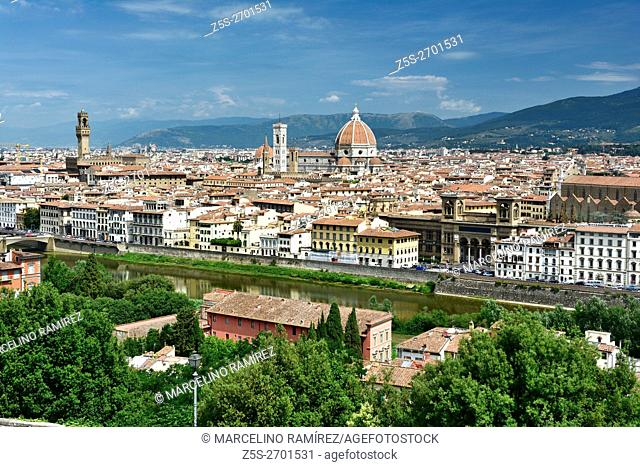 The historic center of Florence view from the Piazzale Michelangelo. Florence, Tuscany, Italy, Europe