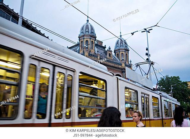 HUNGARY   Budapest    Electric tram car at dusk