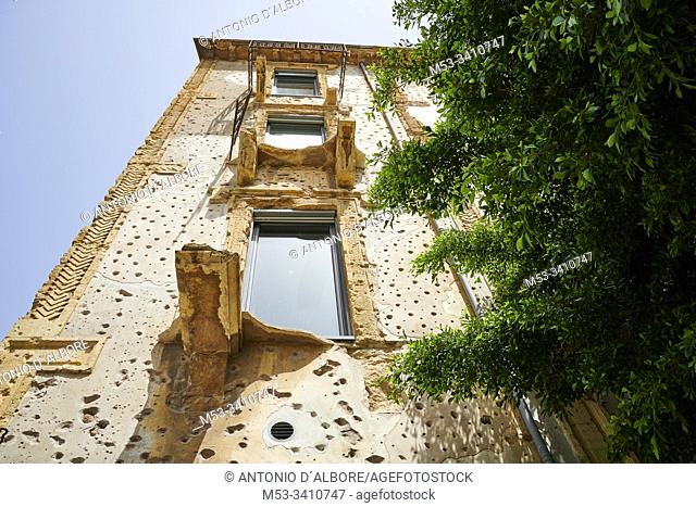 The facade of House of Beirut, formerly known as Barakat House. This building was used by snipers during the civil war and has now been restored and is a...