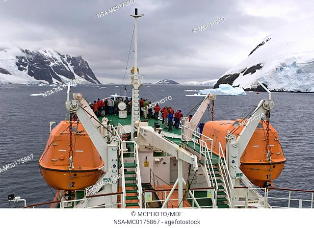 Passengers on Antarctic Dream in Lemaire Channel, Antarctica