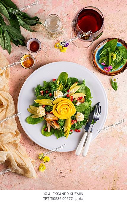 Vegetable and chicken salad with red wine