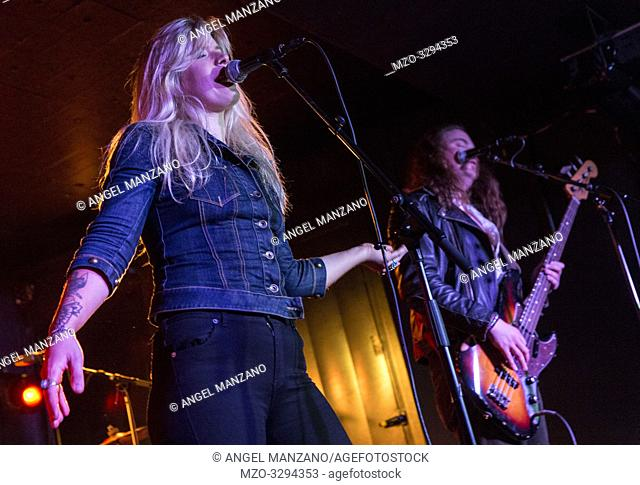 Madrid, Spain- April 25: Lisa Lystam from Heavy Feather rock band performs in concert at Sala Clamores on april 25,2019 in Madrid