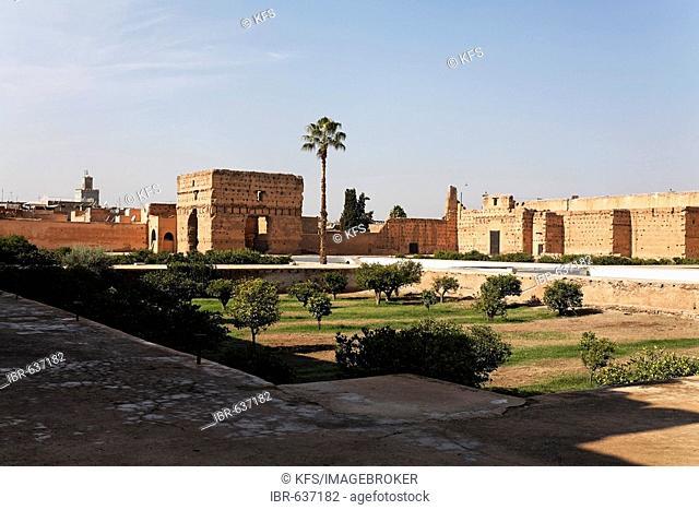 Palais El Badi, ruins and orange gardens Marrakech, Morocco, Africa