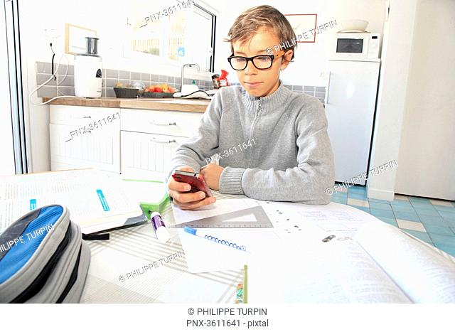 France, teenager phoning and working his lessons at home