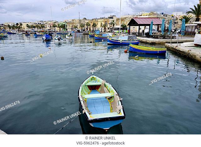 MLT , MALTA : Fishing boats in the harbour of Marsaxlokk , 15.01.2018 - Marsaxlokk, South Eastern, Malta, 15/01/2018