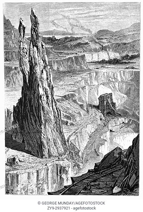 1870: The Penrhyn Slate Quarry, near Bethesda in Snowdonia, Gwynedd, North Wales. At the end of the nineteenth century when this sketch was made it was the...