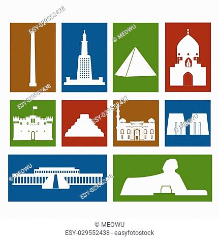 Landmarks of Egypt vector colorful simple flat rectangular icons set