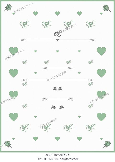 Wedding Invitation template in pastel colours with roses, hearts and birds