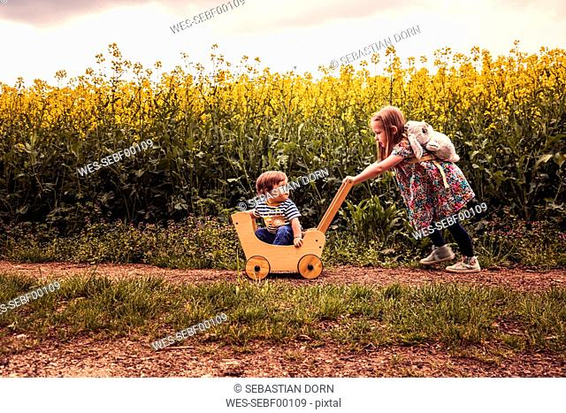 Girl with her brother in a doll buggy on a field way