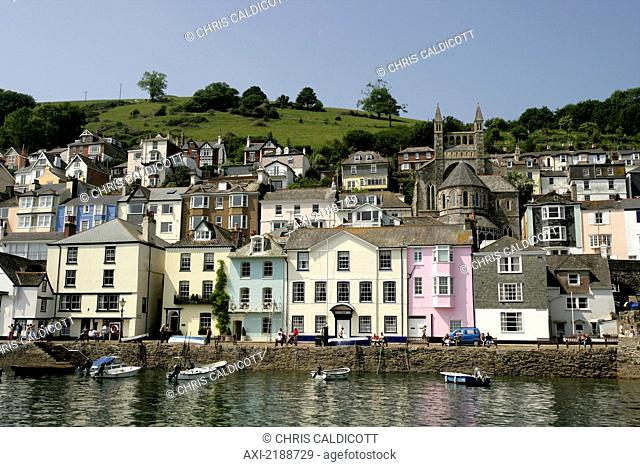 Colourful houses and boats along the riverbank; Dartmouth, South Hams, Devon, England