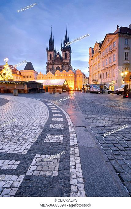 Prague, Czech Republic The Church of Saint Mary of Tyn photographed during Christmas