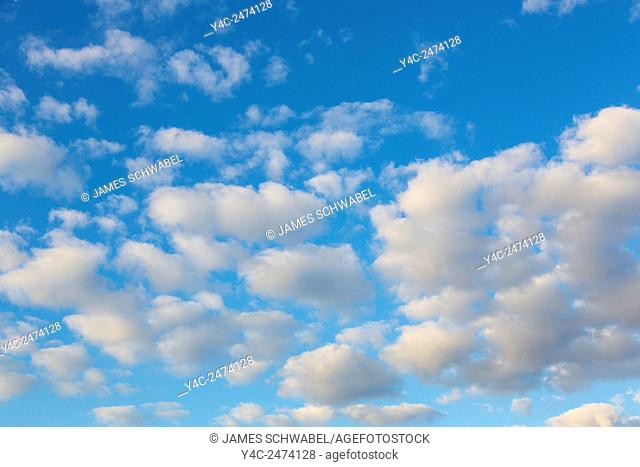 White clouds in a blue sky