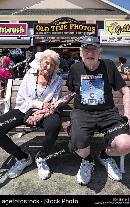 Ocean City, Maryland, USA Pedestrians on the boardwalk