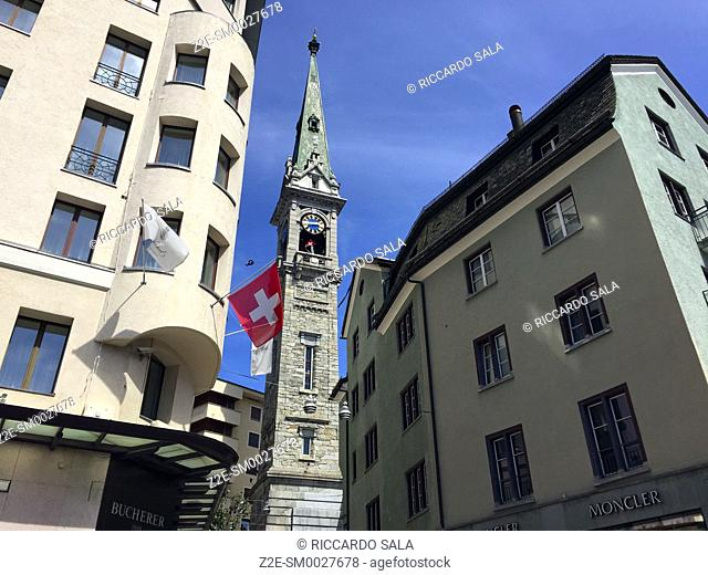 Switzerland, Graubunden Canton, Saint Moritz, Tower of Evangelische Kirke
