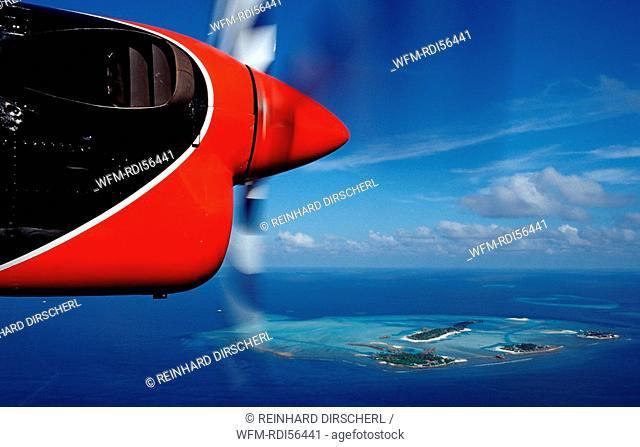 Aerial View of Maldives Islands, Indian Ocean, South-Male Atoll, Dhigufinolhu, Veligandu, Bodu Huraa, Maldives