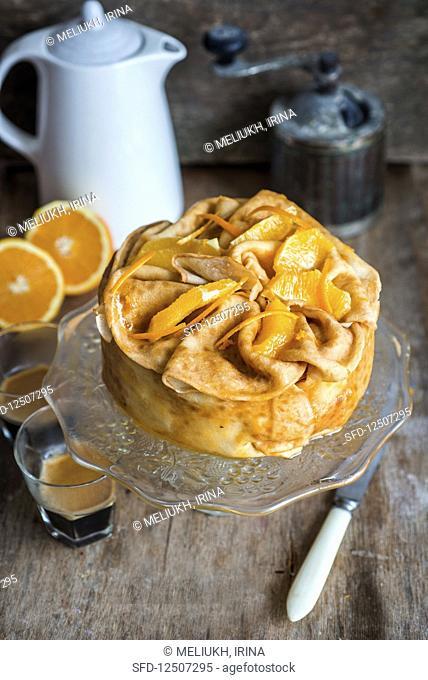 Orange jam and creame crepe cake