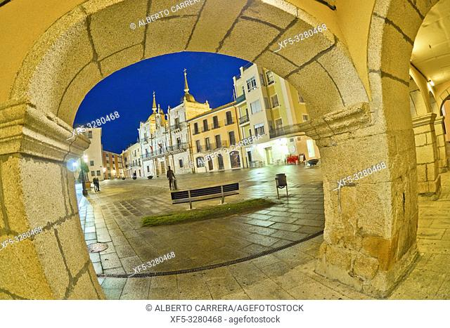 Square of the City Hall, Street Scene, Typical Architecture, Old Town, Ponferrada, El Bierzo Region, León Province, Castilla y León, Spain, Europe