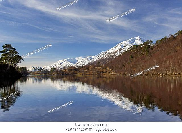 Caledonian Forest along Loch Affric and mountain Sgurr na Lapaich in winter, Glen Affric, Inverness-shire, Scottish Highlands, Highland, Scotland, UK