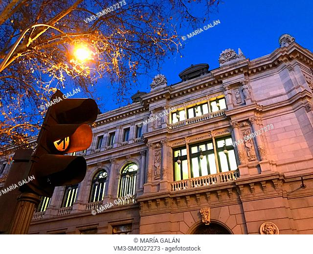 Facade of Banco de España building at night. Madrid, Spain