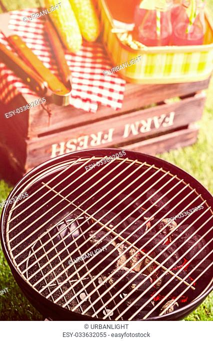 Summer picnic with small charcoal grill in the park