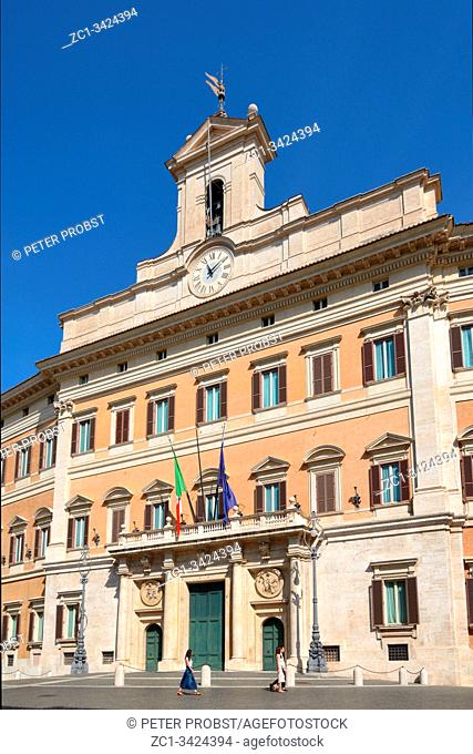 Palazzo Montecitorio at the Piazza Montecitorio in the old town of Rome. Seat of the Representative chamber of the Italian parliament - Italy