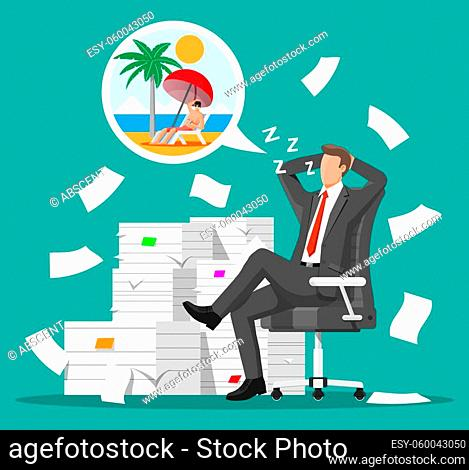 Business man character sleep in bunch of papers. Tired businessman or office worker sleeping on workplace. Stress at work