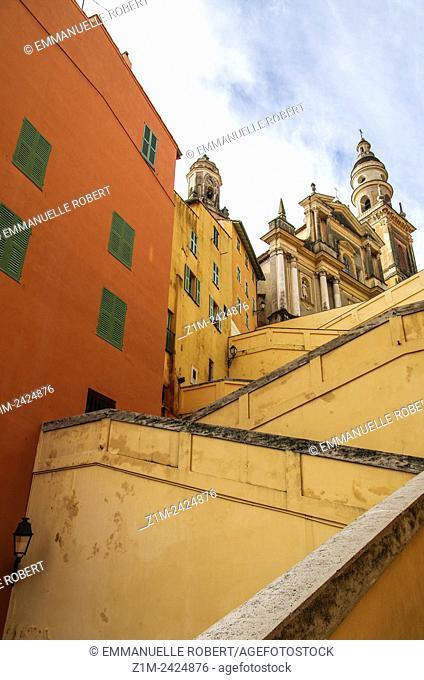 Menton, Old city center, Saint Michel Basilica, Alpes Maritimes, Provence Alpes Cote Azur, French Riviera, France