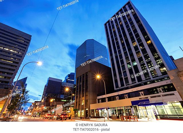 Canada, Alberta, Edmonton, Blue sky over financial district