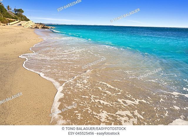Platja Penyals beach playa in Miami-Platja of Tarragona at Costa Dorada of Catalonia