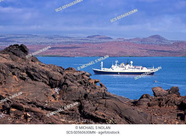 The Lindblad Expedition ship National Geographic Endeavour operating in the Galapagos Islands, Ecuador, Pacific Ocean