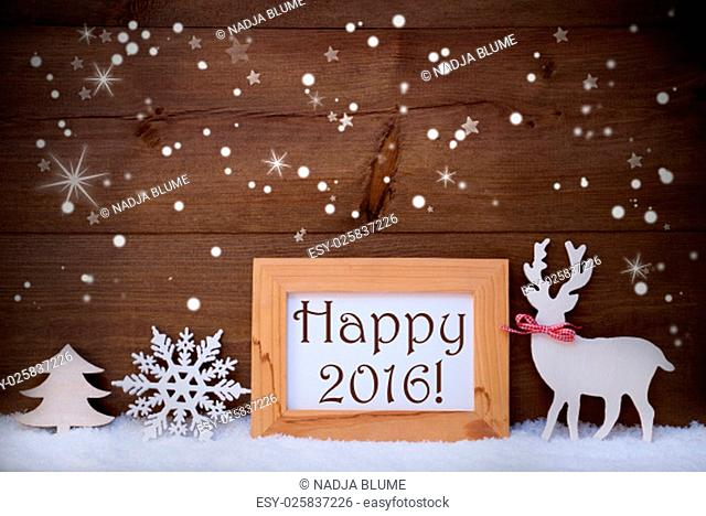 Christmas Card With Picture Frame On Snow, Snowflakes And Sparkling Stars. English Text Happy 2016. White Christmas Decoration Like Snowflake, Tree And Reindeer