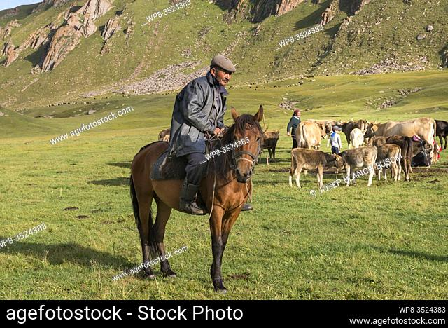 Nomadic Kyrgyz rider in his camp after returning with his horse herd