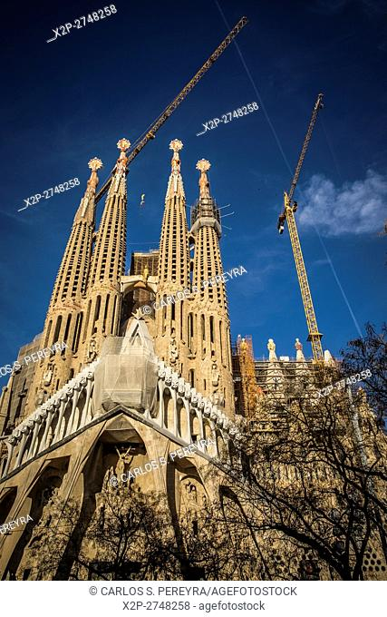 Sagrada Familia church by Antoni Gaudi architect in Barcelona Catalonia Spain