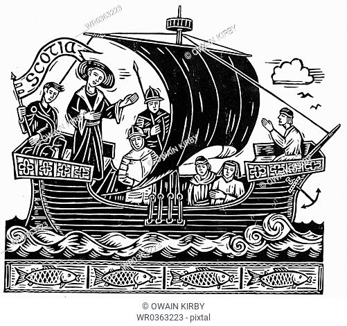 Medieval People On Sailing Ship
