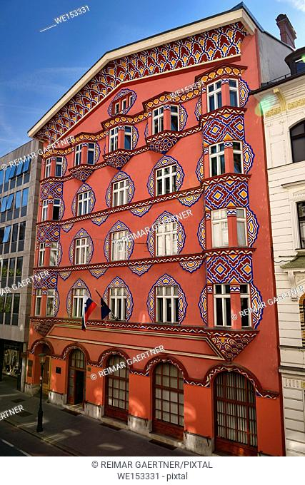 Pink facade of the Cooperative Business Bank Building called Vurnik House designed by Ivan Vurnik and painted by wife Helena Ljubljana Slovenia