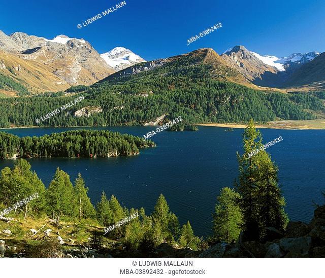 Switzerland, Graubünden, Oberengadin, Silsersee, peninsula Chaste, autumn, Engadin, mountain scenery, lake, mountain lake, mountains, Flextal, symbol