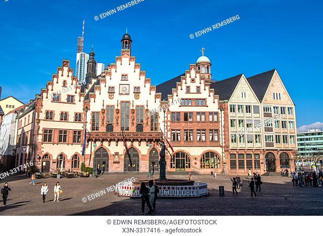 Tourist among architecture in Frankfurt, Germany