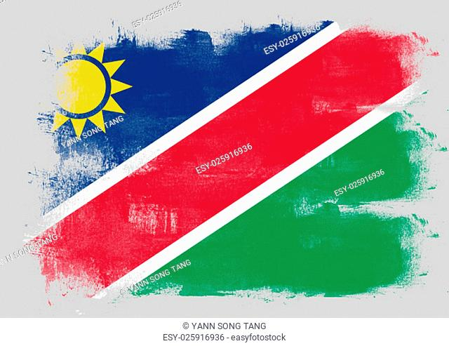 Flag of Namibia painted with brush on solid background