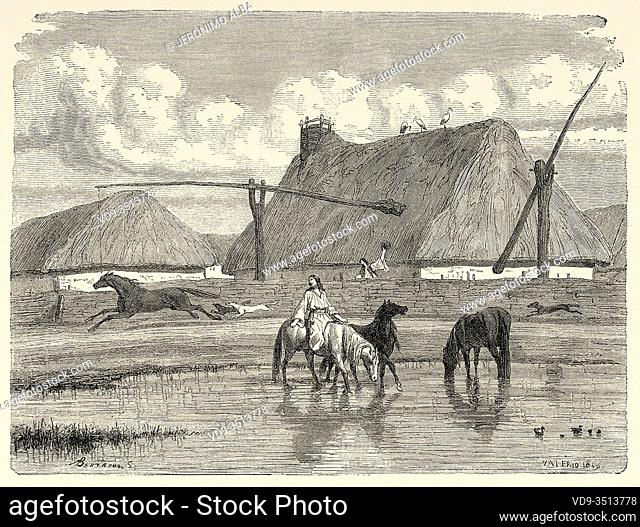 Daily life in a village, Bosnian military border, Bosnia. Europe, Old engraving illustration Trip land of southern Slavs by M. Perrot